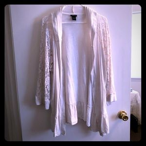 Torrid White Lace 3/4 Sleeve Hooded Cardigan